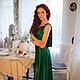 Платья ручной работы. Зеленое вечернее платье в пол. Ксения Gleamnight. Ярмарка Мастеров. Длинное платье, хлопок