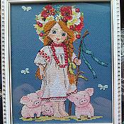 Вышивка крестом Картина Славянский Русский стиль Пастушка Славянка