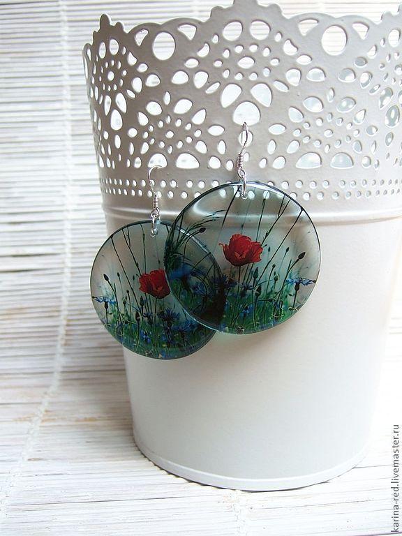 Round Transparent Bright Earrings poppy Field in Boho Jewelry, Earrings, Taganrog,  Фото №1