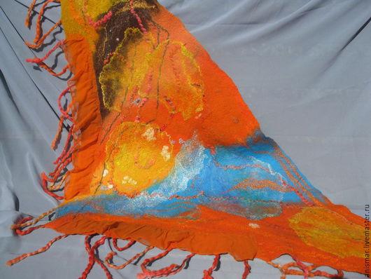 """Шарфы и шарфики ручной работы. Ярмарка Мастеров - ручная работа. Купить Бактус валяный """"Пожар в джунглях"""". Handmade. Разноцветный, рыжий"""