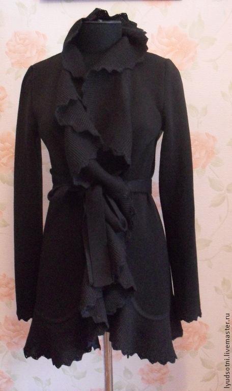 Верхняя одежда ручной работы. Ярмарка Мастеров - ручная работа. Купить Чёрный кардиган. Handmade. Черный, 50% шерсть