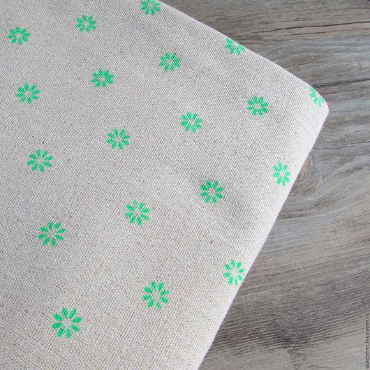 Ткань лен натуральный с рисунком Ромашка зеленая.