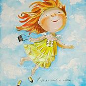 Картины и панно ручной работы. Ярмарка Мастеров - ручная работа Картина на шелке огда я с тобой, я летаю.... Handmade.