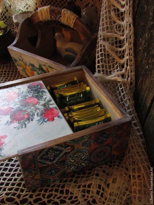 """Кухня ручной работы. Ярмарка Мастеров - ручная работа. Купить Короб для чая и лукошко """" Восточный базар"""". Handmade. Коричневый"""