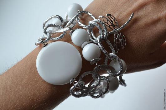 """Браслеты ручной работы. Ярмарка Мастеров - ручная работа. Купить Браслет """"Белое в серебре"""" (Агат). Handmade. Белый, подарок"""