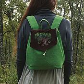 Сумки и аксессуары handmade. Livemaster - original item Backpack Brokilon (simplified) - leather,linen,green,brown. Handmade.