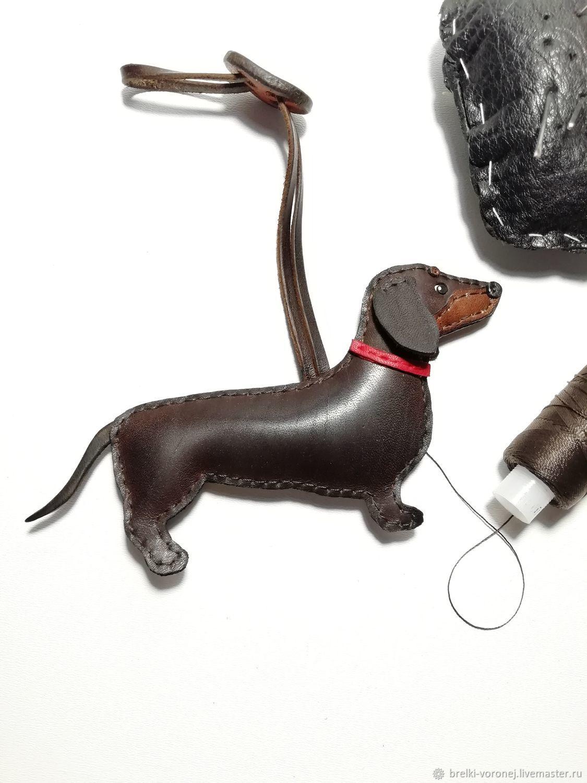 Брелок из кожи собака такса, Брелок, Подольск,  Фото №1