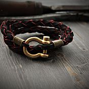Украшения handmade. Livemaster - original item The genuine leather bracelet,men bracelet ,bracelet with bronze fortress. Handmade.