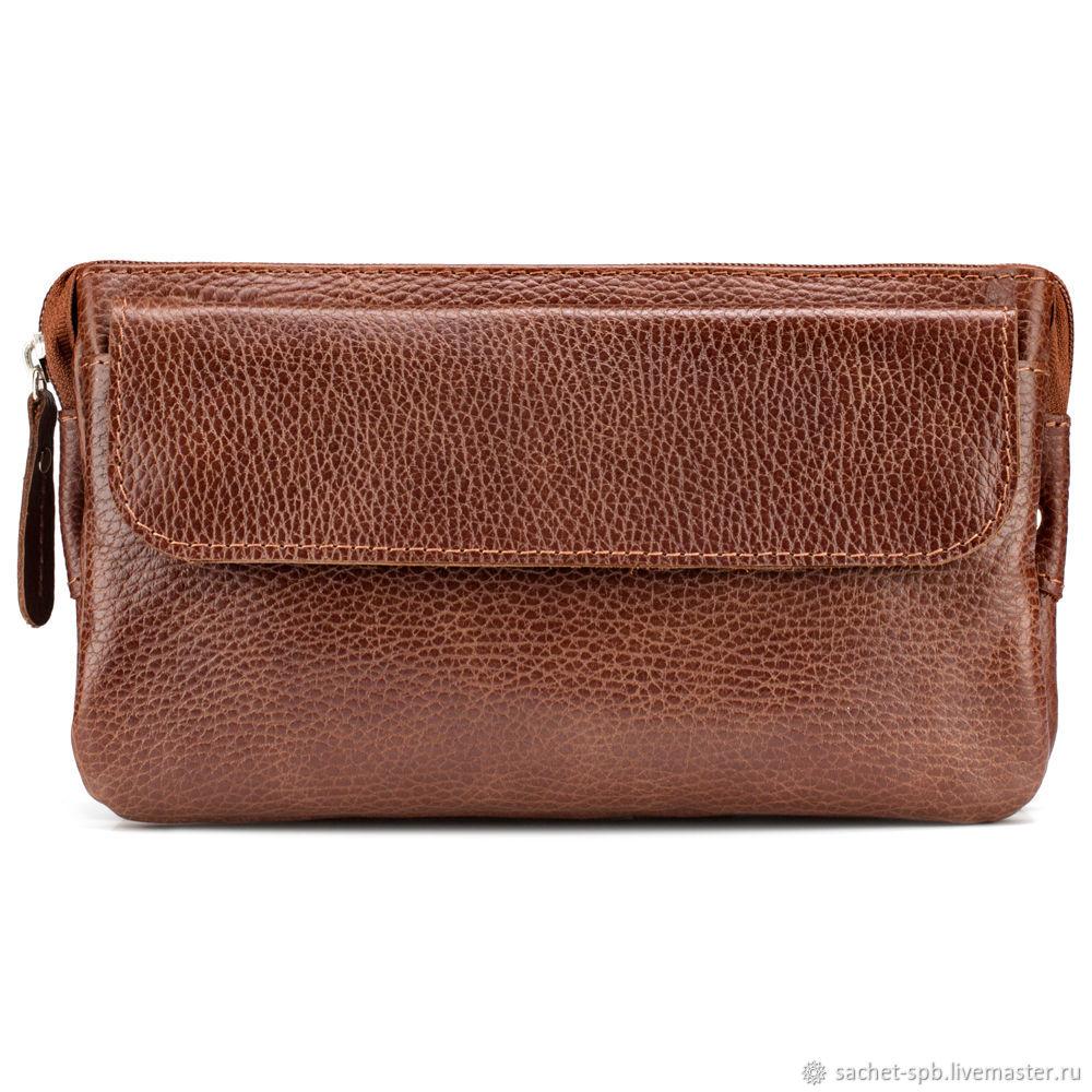 Leather bag on the belt 'Eunice' (light brown), Waist Bag, St. Petersburg,  Фото №1