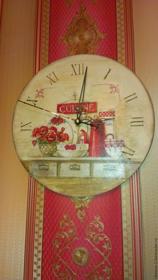 Часы для дома ручной работы. Ярмарка Мастеров - ручная работа. Купить часы. Handmade. Бежевый, дерево