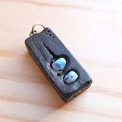 Украшения handmade. Livemaster - original item The pendant is made of bog oak with turquoise. Handmade.