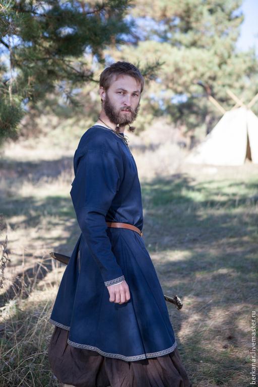 Этническая одежда ручной работы. Ярмарка Мастеров - ручная работа. Купить Туника викинга «Бьорн - следопыт». Handmade. Тёмно-синий