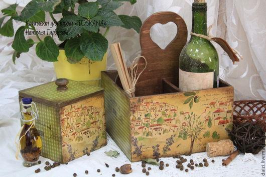 """Кухня ручной работы. Ярмарка Мастеров - ручная работа. Купить Кухонный комплект """"TOSKANA"""". Handmade. Зеленый, короб под вино"""
