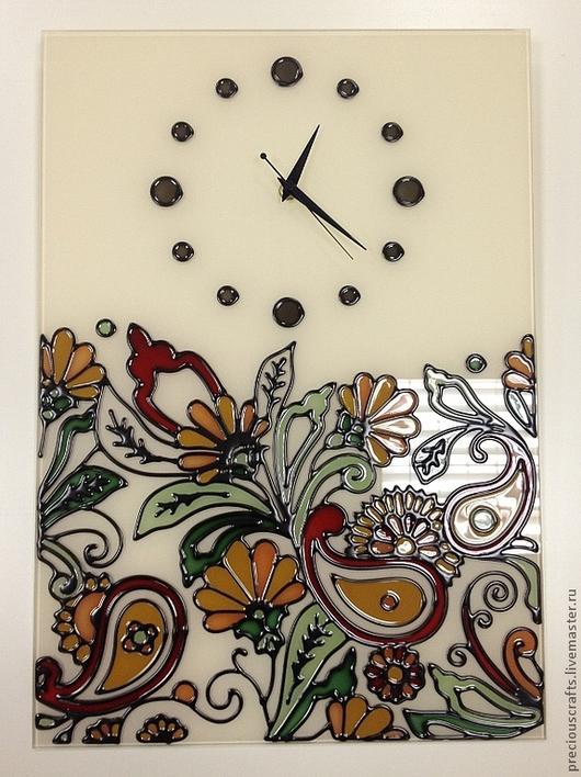 Часы для дома ручной работы. Ярмарка Мастеров - ручная работа. Купить Часы с витражной росписью. Handmade. Часы