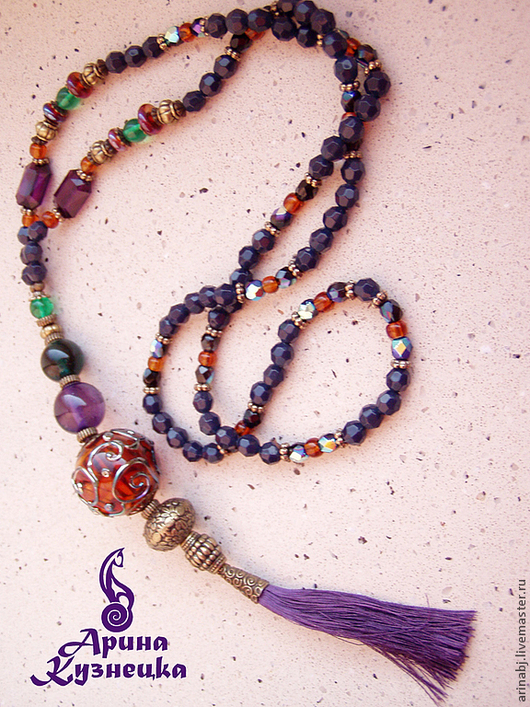 Колье, бусы ручной работы. Ярмарка Мастеров - ручная работа. Купить Сотуар Purple Tassel (Перпл Тассел). Handmade. фурнитура