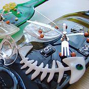 Для дома и интерьера ручной работы. Ярмарка Мастеров - ручная работа Часы Веселое застолье-фьюзинг. Handmade.