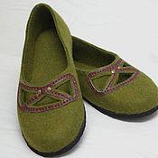 """Обувь ручной работы. Ярмарка Мастеров - ручная работа Балетки валяные """"Мох"""". Handmade."""