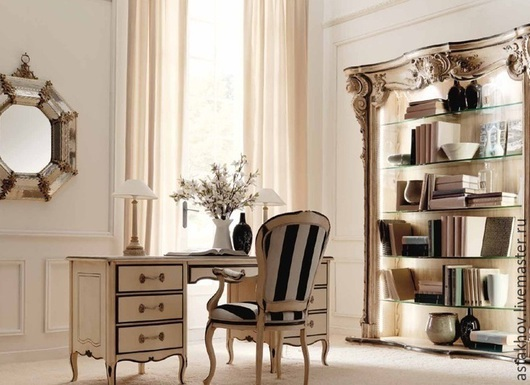 Мебель ручной работы. Ярмарка Мастеров - ручная работа. Купить Белый кабинет (шкаф библиотека, стол письменный, стул). Handmade.