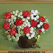 """Подарки к праздникам ручной работы. Ярмарка Мастеров - ручная работа Картина лентами """"Королева цветов"""". Handmade."""