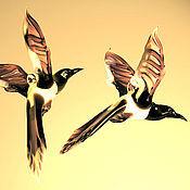 Подарки к праздникам ручной работы. Ярмарка Мастеров - ручная работа Интерьерное стеклянное украшение  -  птица Сорока. Handmade.