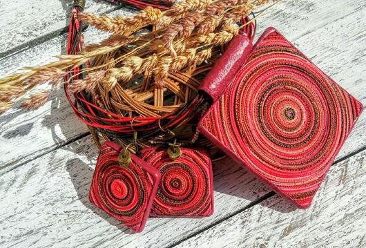 Комплекты украшений ручной работы. Ярмарка Мастеров - ручная работа. Купить Кулон и серьги из полимерной глины. Handmade. Комбинированный