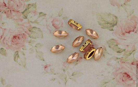 Для украшений ручной работы. Ярмарка Мастеров - ручная работа. Купить Винтажные стразы 15х7мм. кристаллы в оправе цвет чайная роза. Handmade.