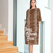 Одежда ручной работы. Ярмарка Мастеров - ручная работа Леопардовое меховое весеннее осеннее зимнее стильное платье миди. Handmade.