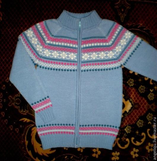 Одежда для девочек, ручной работы. Ярмарка Мастеров - ручная работа. Купить Кофта детская. Handmade. Голубой, на молнии, Жаккардовый узор