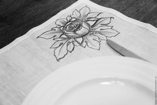Кухня ручной работы. Ярмарка Мастеров - ручная работа. Купить Салфетка столовая. Пион. Handmade. Серебряный, лён 100%