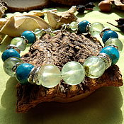 Украшения handmade. Livemaster - original item Bracelet with prenite and apatite. Handmade.