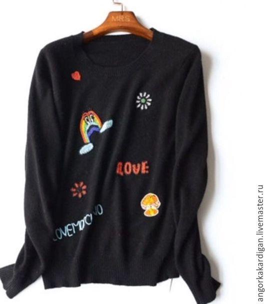 Кофты и свитера ручной работы. Ярмарка Мастеров - ручная работа. Купить Кашемировый свитер с ручной вышивкой из бисера. Handmade. Черный