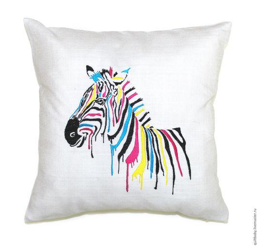 """Текстиль, ковры ручной работы. Ярмарка Мастеров - ручная работа. Купить Льняная подушка """"Зебра"""". Handmade. Белый, цветной, зебра"""