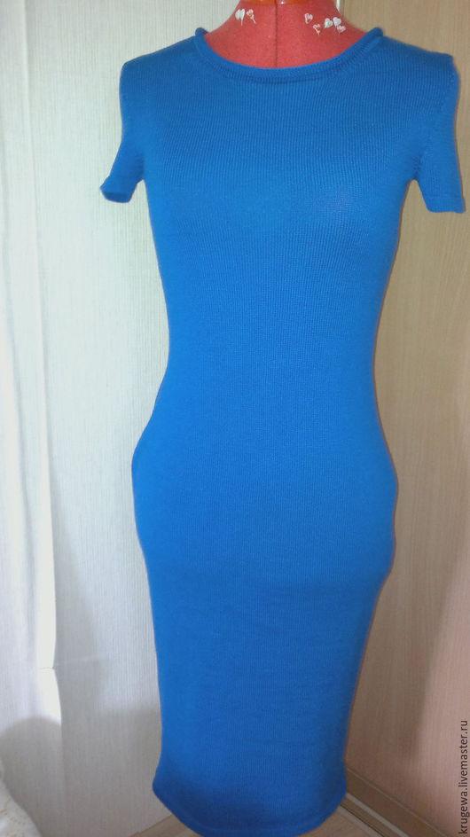Платья ручной работы. Ярмарка Мастеров - ручная работа. Купить вязаное платье ультромарин. Handmade. Тёмно-синий, платье вязаное