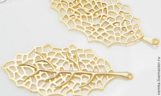 """Для украшений ручной работы. Ярмарка Мастеров - ручная работа. Купить Коннектор """"Лист"""". Handmade. Золотой, подвеска, подвеска металлическая"""