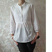Одежда ручной работы. Ярмарка Мастеров - ручная работа Белая хлопковая блузка с вышивкой. Handmade.