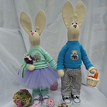 Куклы и игрушки ручной работы. Ярмарка Мастеров - ручная работа Игрушки: Текстильные зайки Мила И майкл. Handmade.