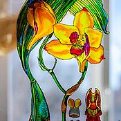 """Картины и панно ручной работы. Ярмарка Мастеров - ручная работа """"Жёлтая орхидея"""" серия работ """"Ботаника"""". Handmade."""