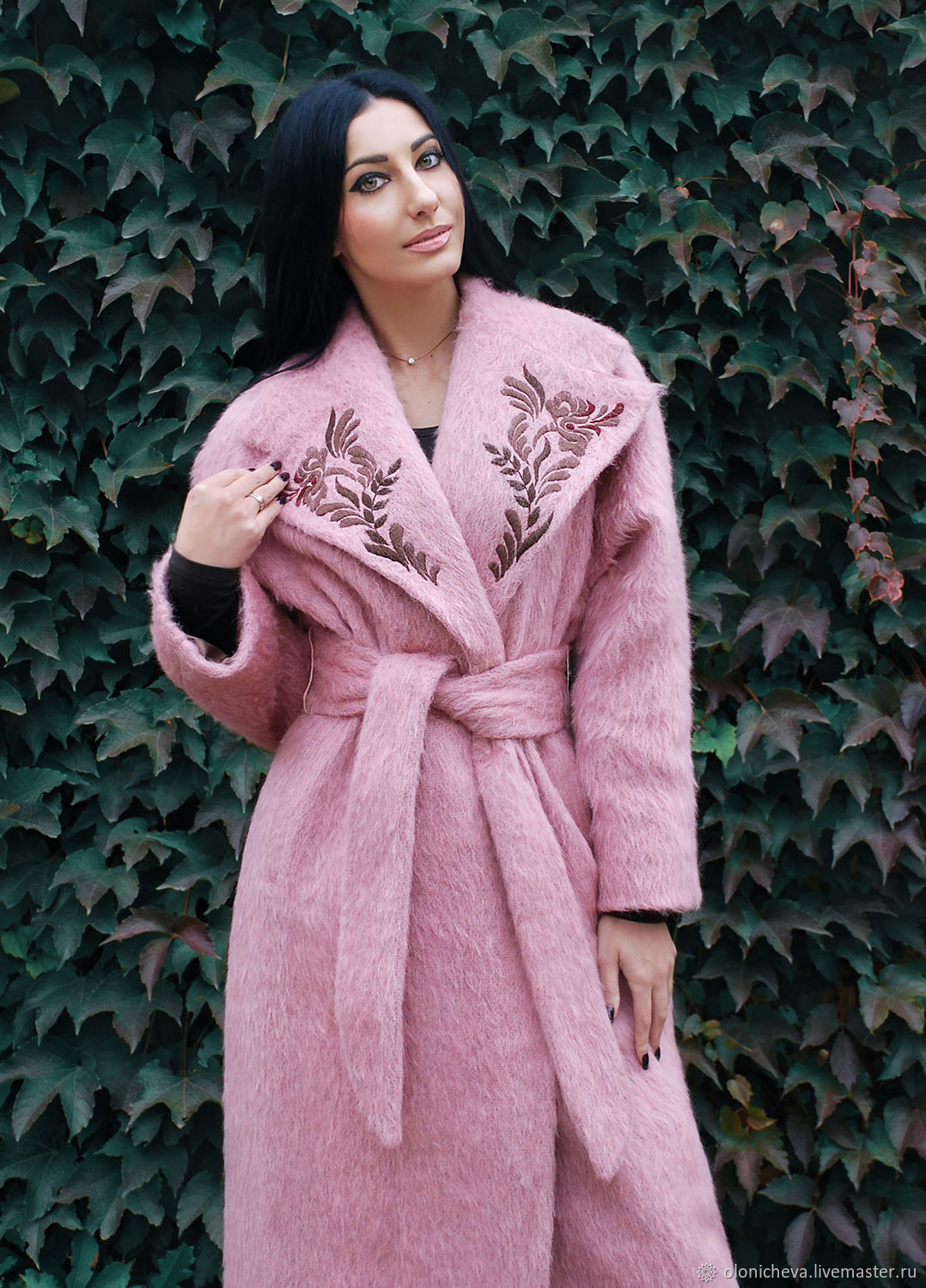 Exclusive coat with embroidered pink flamingos shop for Outer cloth