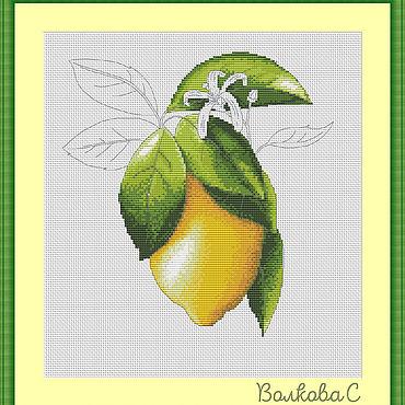 """Материалы для творчества ручной работы. Ярмарка Мастеров - ручная работа Схема для вышивки """"Лимон"""". Handmade."""