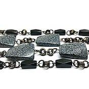 Украшения handmade. Livemaster - original item The long beads of Snow obsidian natural, metal accessories USA. Handmade.