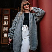 handmade. Livemaster - original item cardigans: Grey cardigan for every day in the size of an oversize. Handmade.