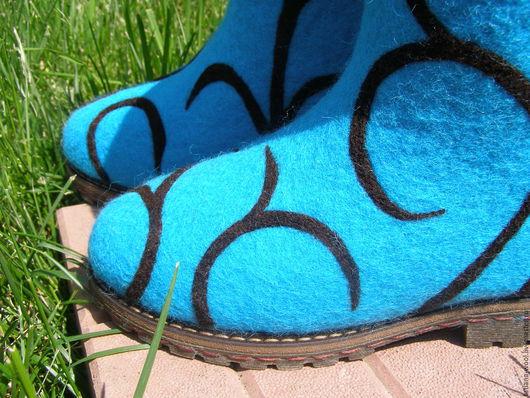 """Обувь ручной работы. Ярмарка Мастеров - ручная работа. Купить Валенки-сапоги """"Бирюза шоколадная"""". Handmade. Бирюзовый, валенки, бергшаф"""