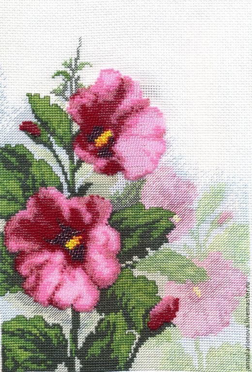 Картины цветов ручной работы. Ярмарка Мастеров - ручная работа. Купить Мальвы. Handmade. Розовый, Вышивка крестом, цветы, лето