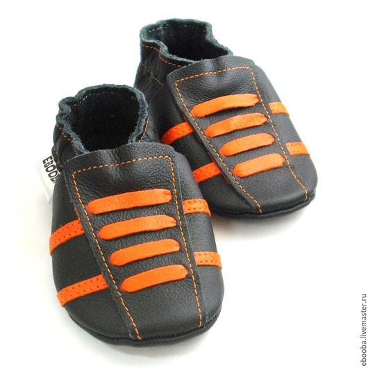 Кожаные чешки тапочки пинетки кроссовки чёрные оранжевые ebooba