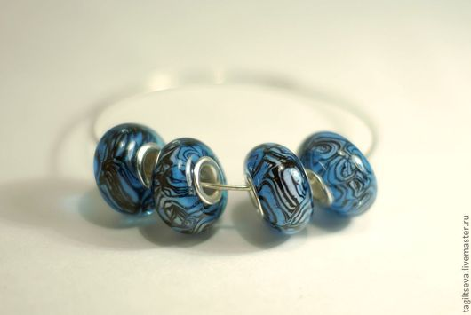 """Бусины пандора ручной работы. Ярмарка Мастеров - ручная работа. Купить """"Синие тигровые"""" - набор бусин для браслета. Handmade. Синий"""