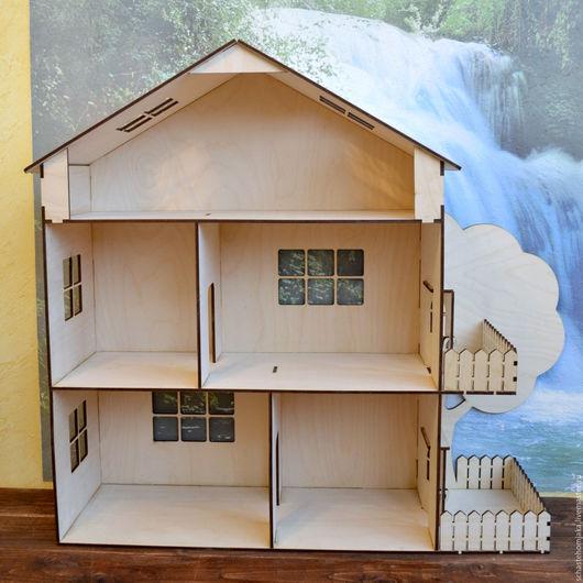 Кукольный дом ручной работы. Ярмарка Мастеров - ручная работа. Купить Кукольный домик с балконом, террасой и деревом.. Handmade. Домик