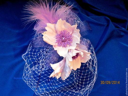 Свадебные украшения ручной работы. Ярмарка Мастеров - ручная работа. Купить свадебная вуалетка бело-сиреневая. Handmade. Белый