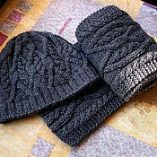 Аксессуары ручной работы. Ярмарка Мастеров - ручная работа Темно-серый комплект с аранами - шапка и шарф. Handmade.