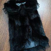 """Одежда для питомцев ручной работы. Ярмарка Мастеров - ручная работа Жилетка """"Черный лебедь"""" из норки для собачек. Handmade."""