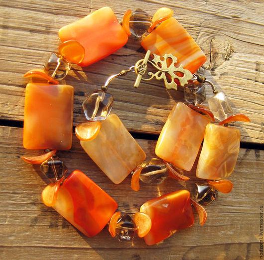 """Колье, бусы ручной работы. Ярмарка Мастеров - ручная работа. Купить Колье """"Кураж"""", Сердолик, Раухтопаз, Латунь. Handmade. Оранжевый"""